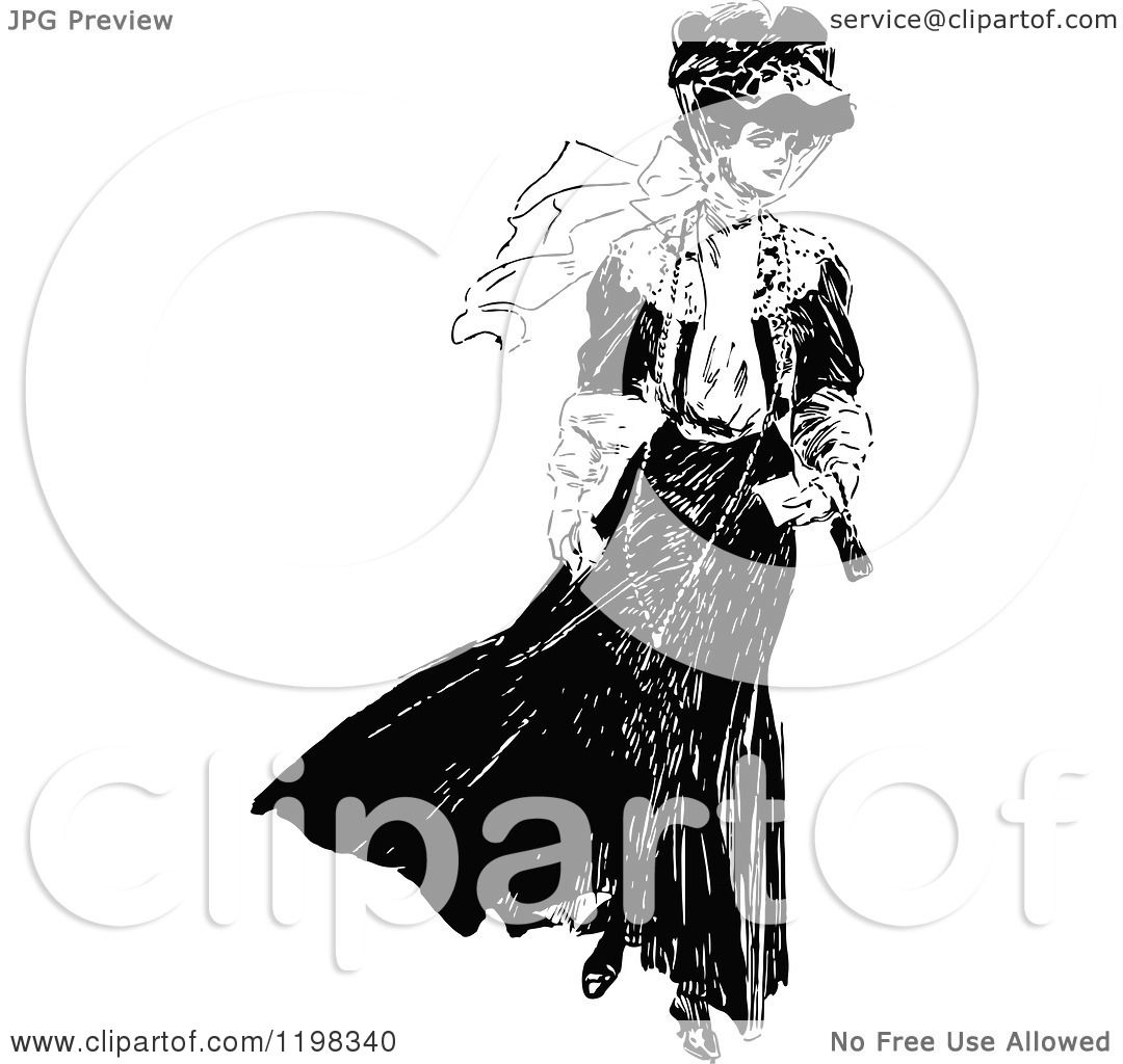 Clipart Of A Black And White Vintage Elegant Lady
