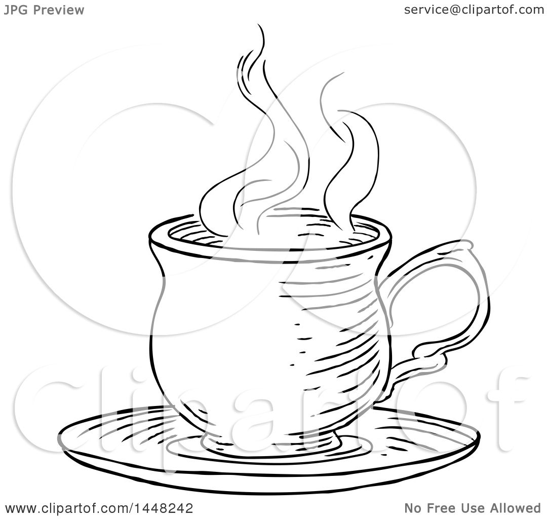 Clipart Of A Black And White Vintage Engraved Cup Of Hot