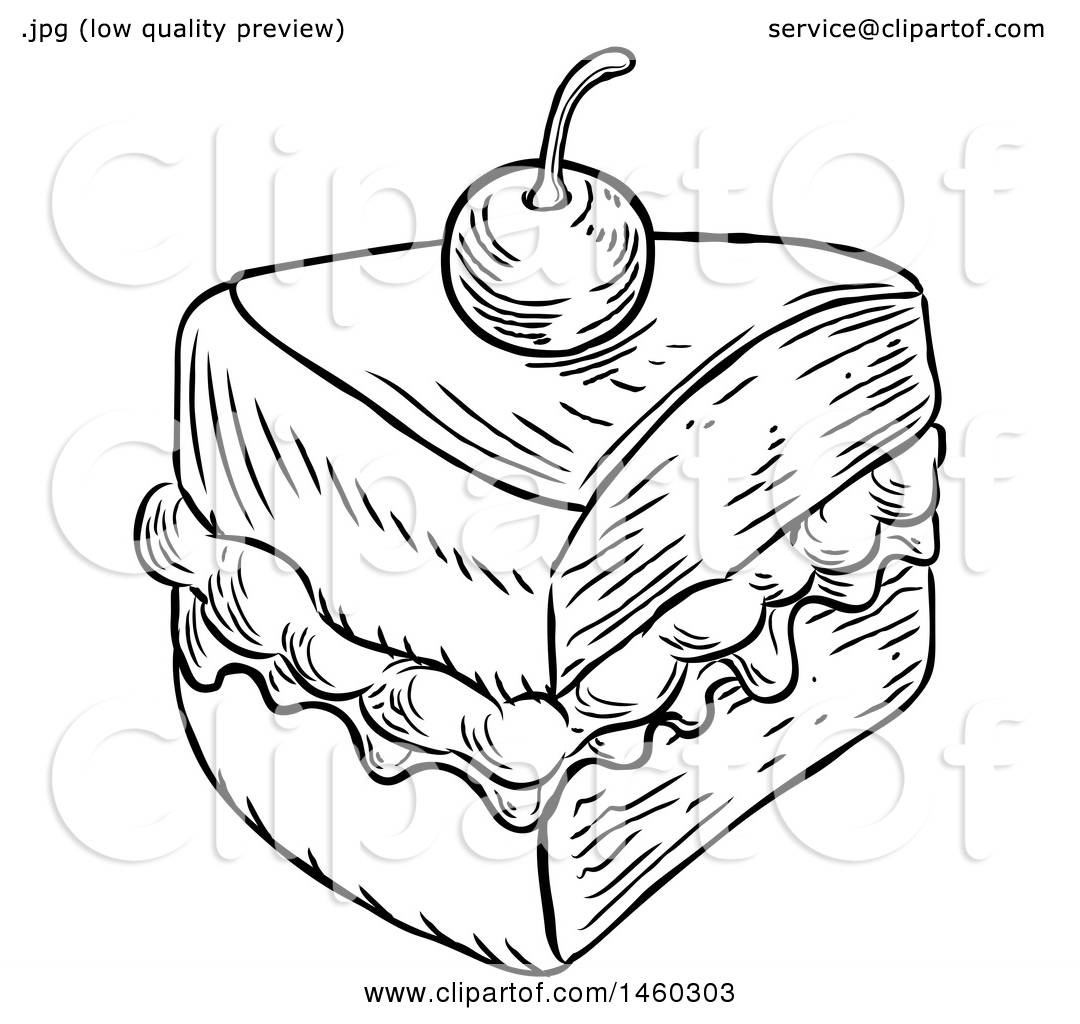 Clipart Of A Black And White Vintage Engraved Slice Of Jam