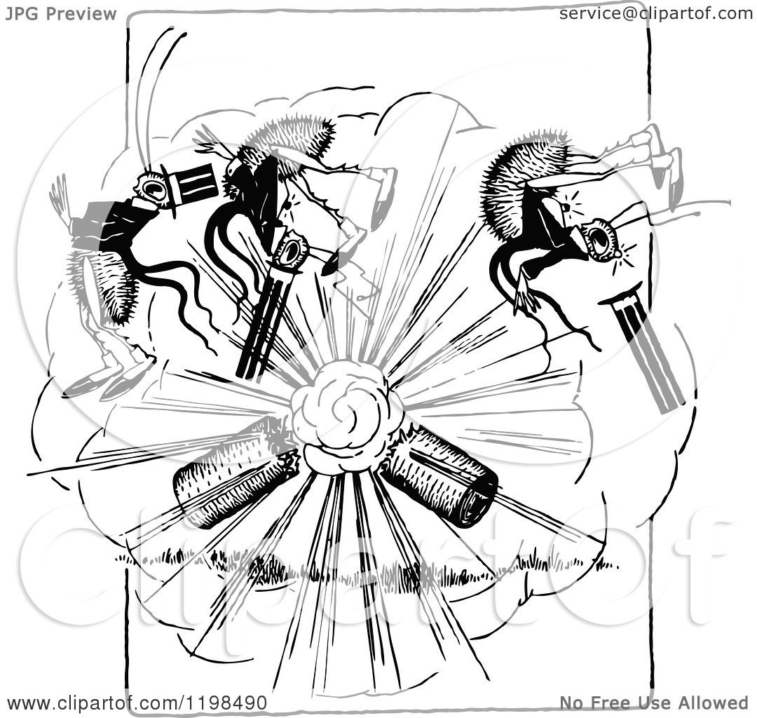 Clipart Of A Black And White Vintage Exploding Firework