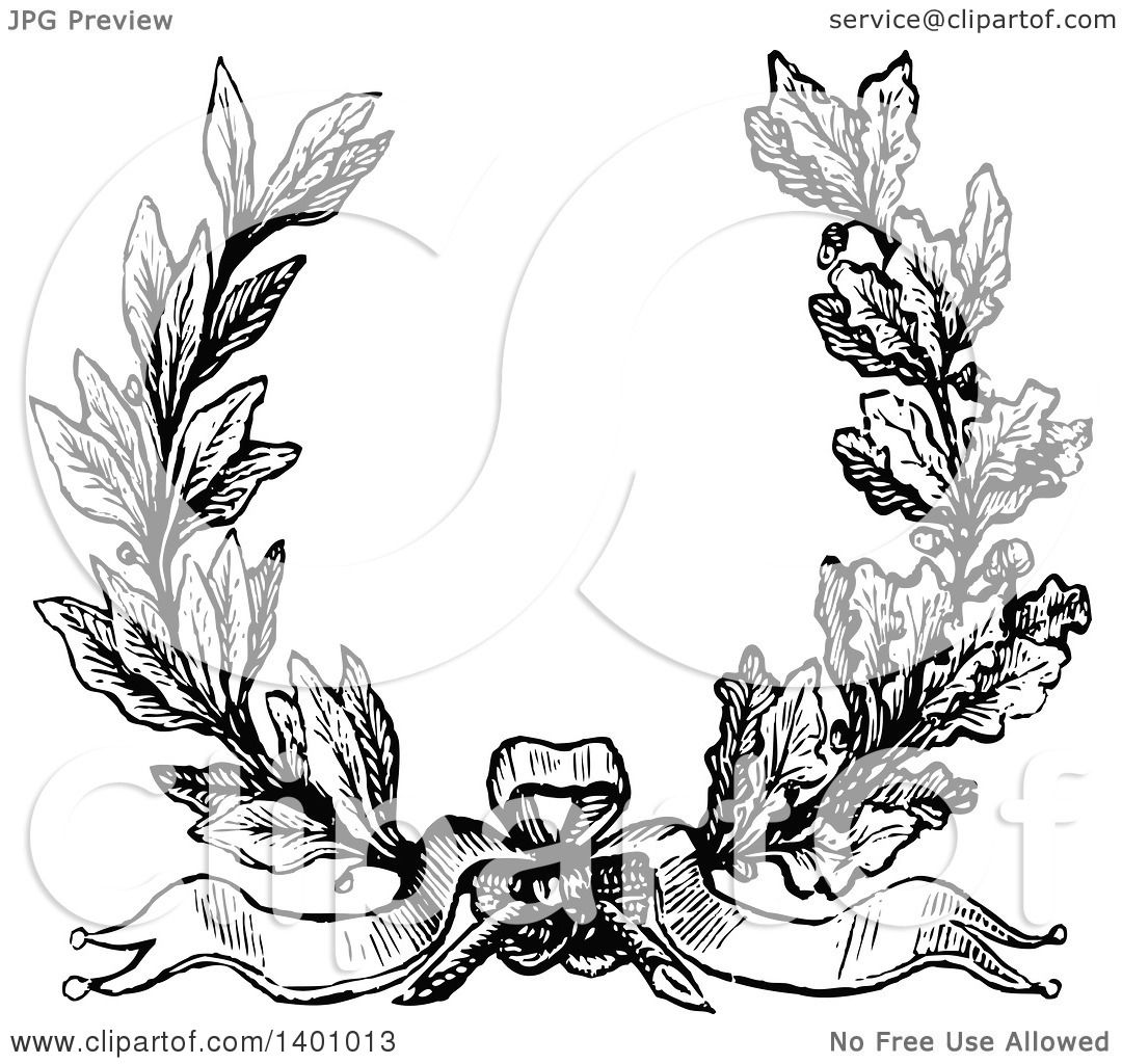 Clipart Of A Black And White Vintage Laurel And Oak Wreath