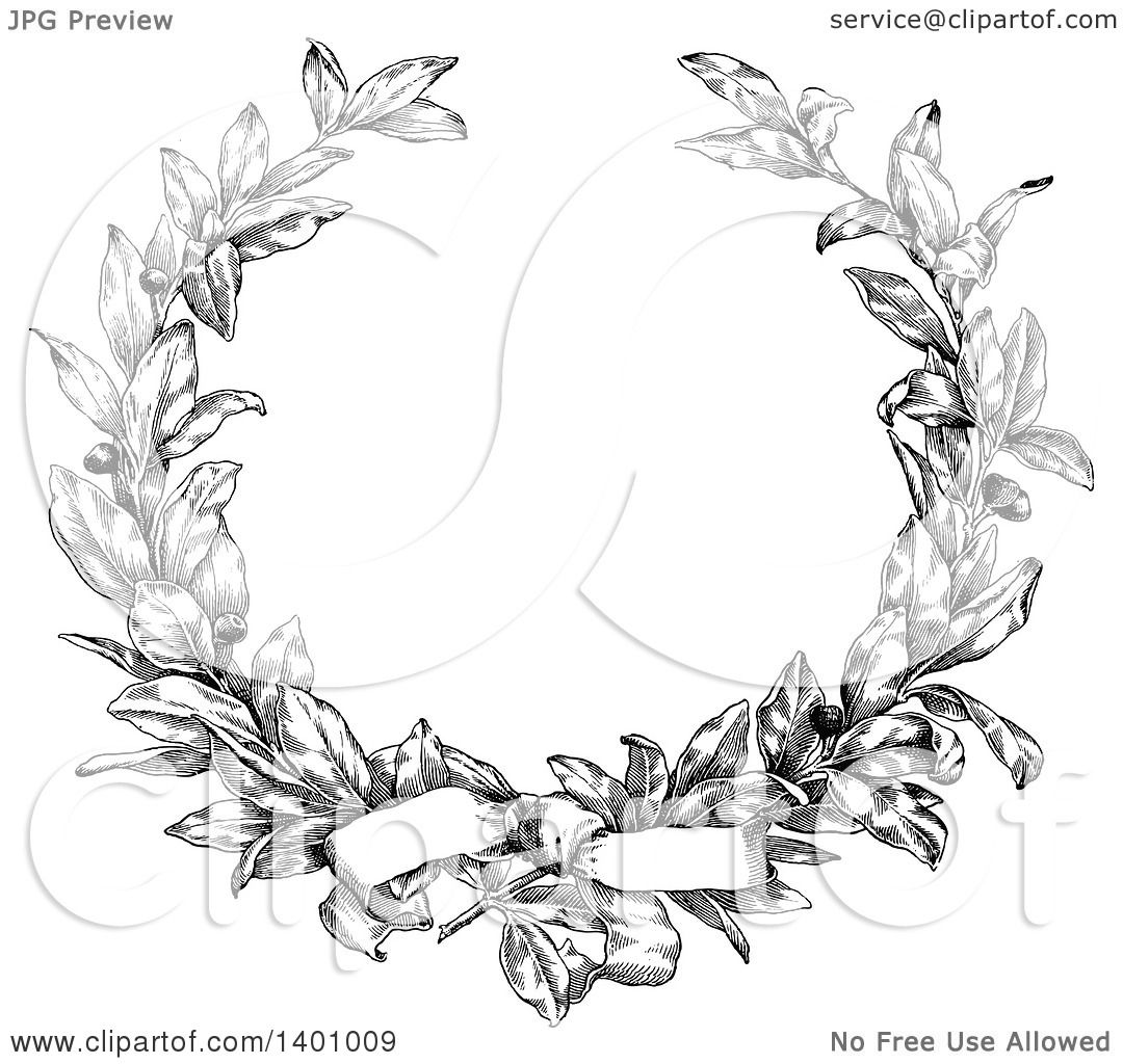 Clipart Of A Black And White Vintage Laurel Wreath And Bow