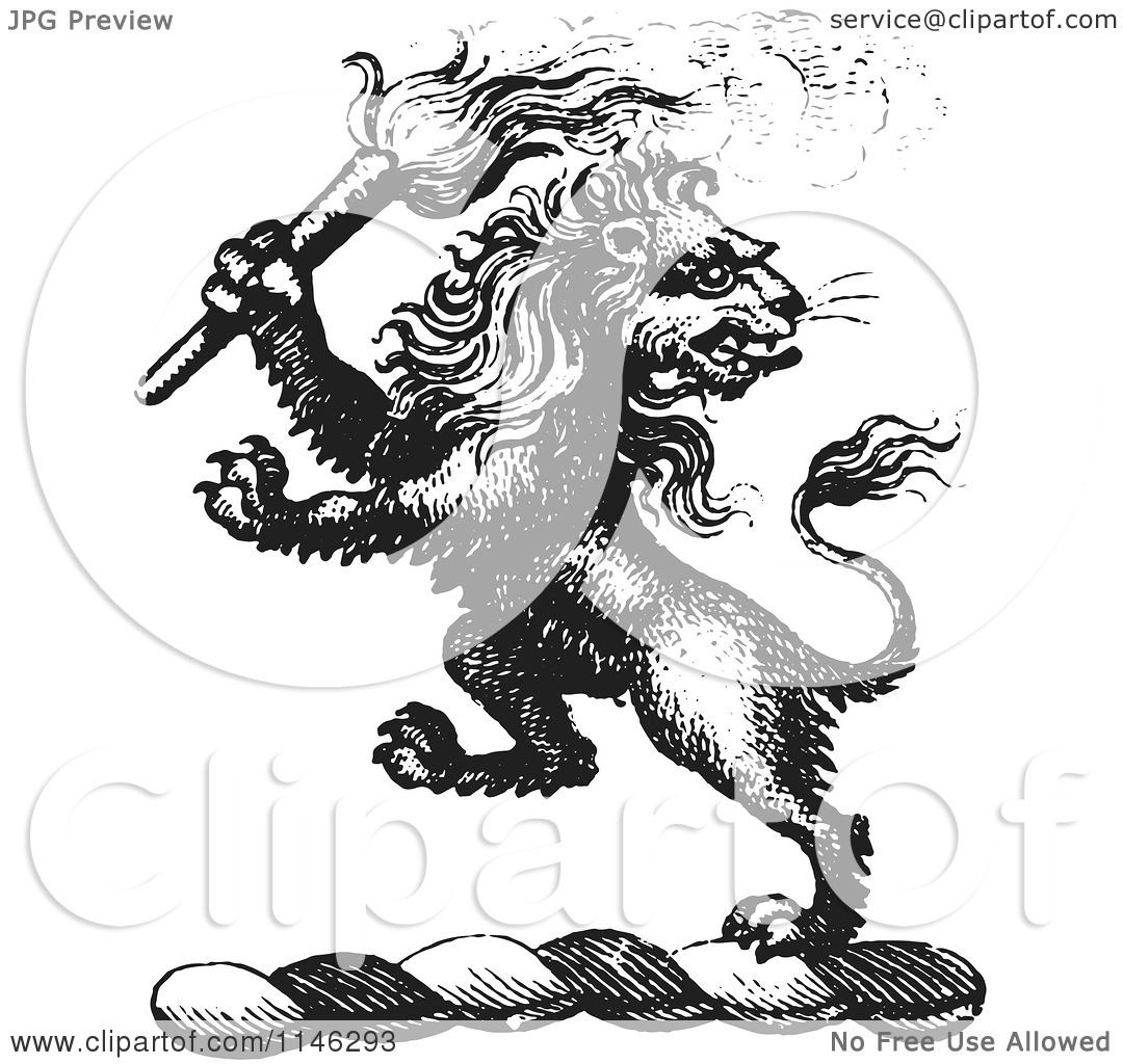 Clipart Of A Black And White Vintage Lion Crest With A