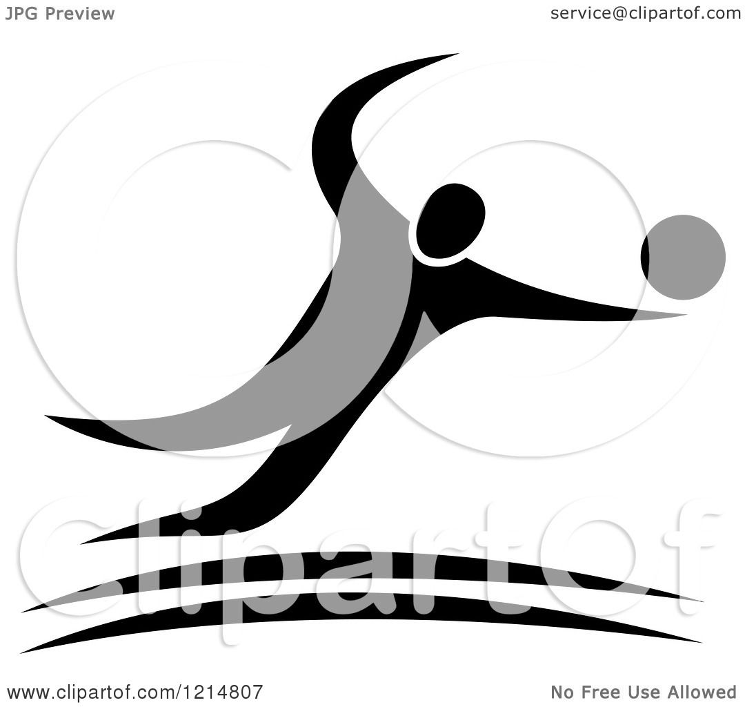 Clipart Of A Black And White Volleyball Player 3