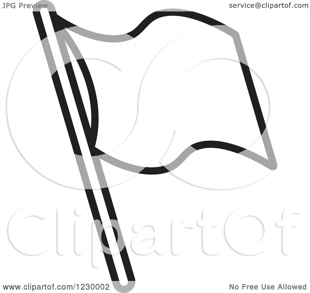 Clipart Of A Black And White Waving Flag Icon
