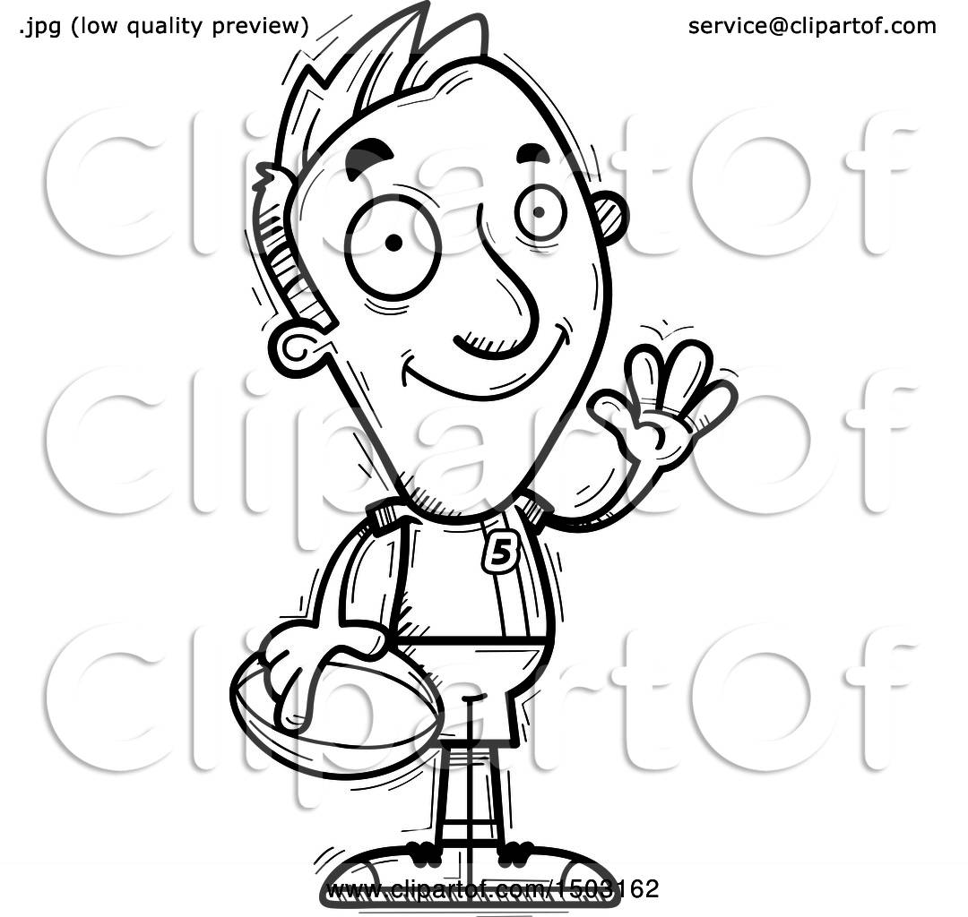 Clipart Of A Black And White Waving Male Rugby Player