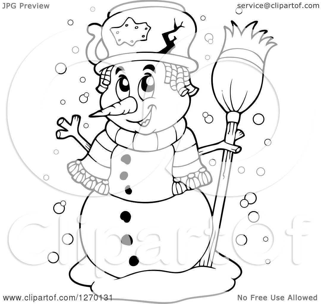 Clipart Of A Black And White Waving Snowman With A Broom
