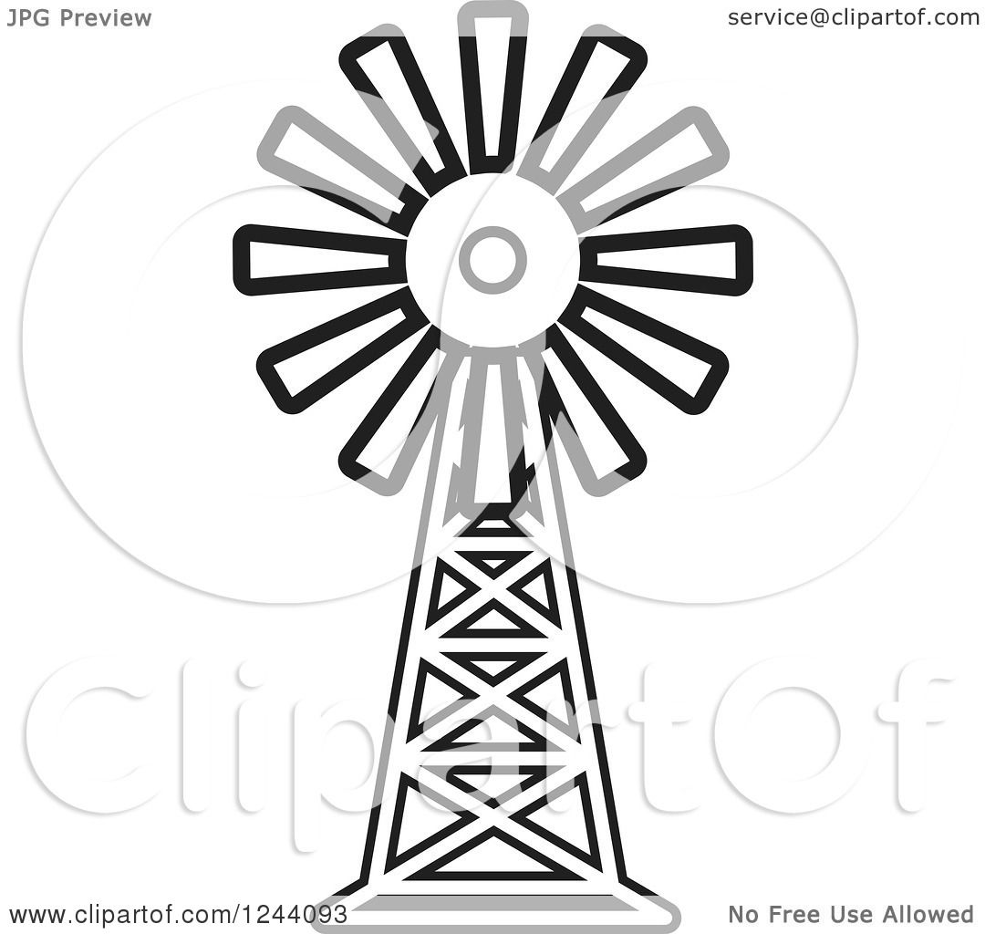 Clipart Of A Black And White Windmill
