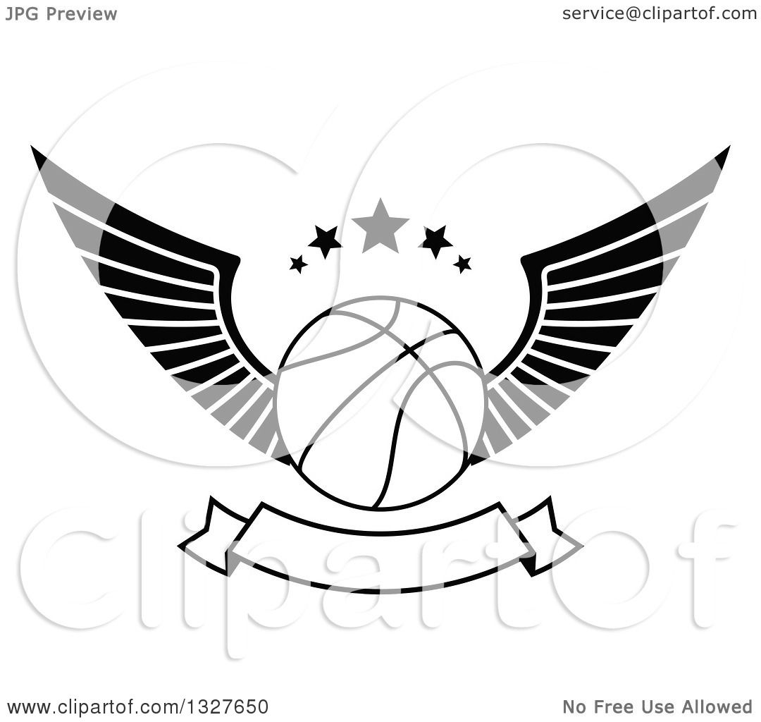 Clipart Of A Black And White Winged Basketball With Stars