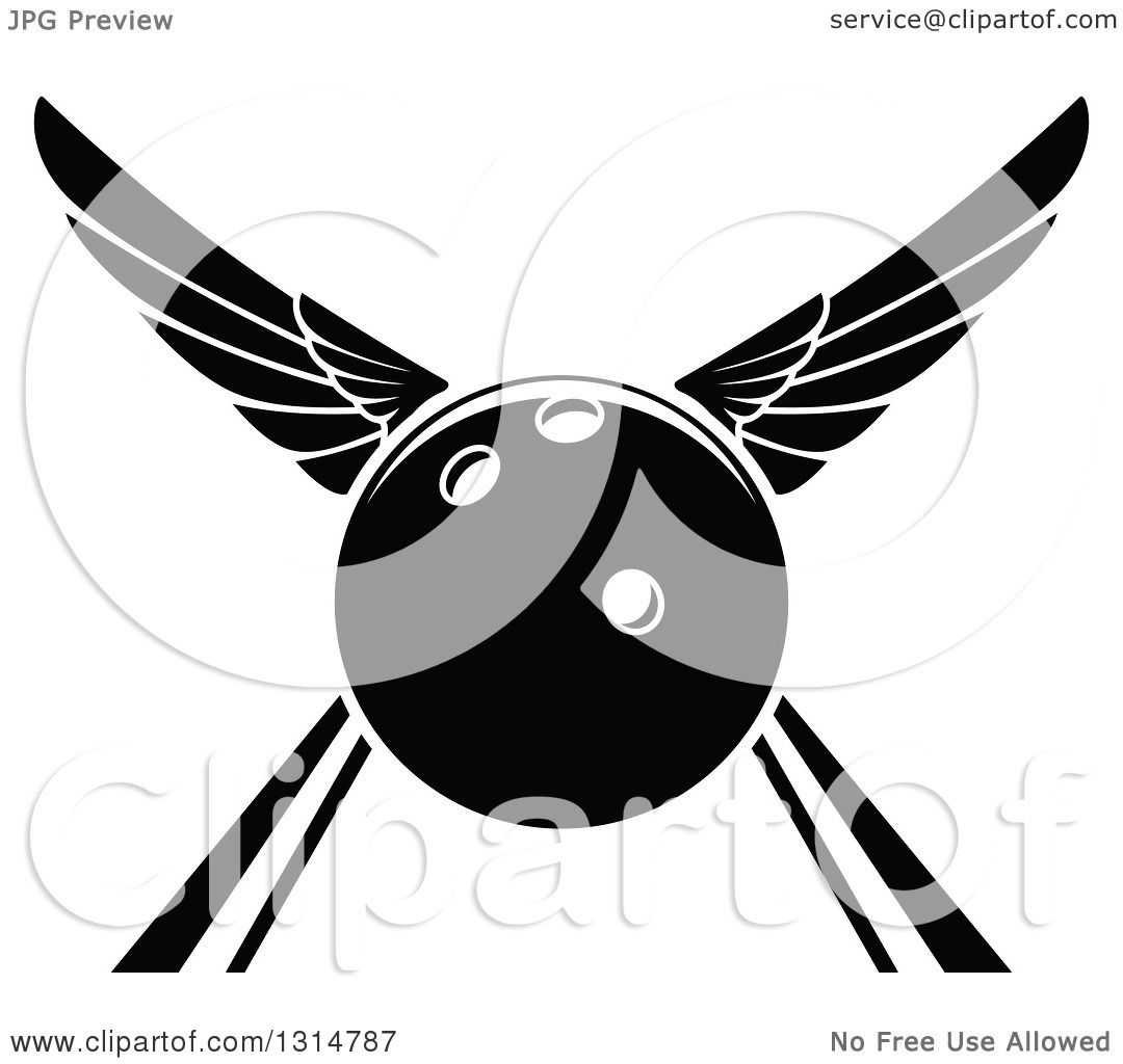 Clipart Of A Black And White Winged Bowling Ball In An