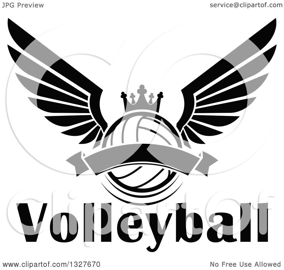 Clipart Of A Black And White Winged Crowned Volleyball