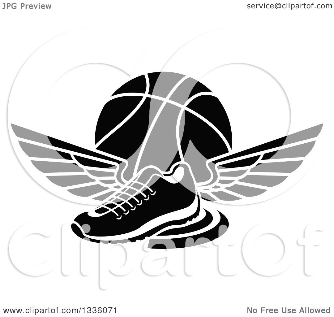 Clipart Of A Black And White Winged Shoe Over A Basketball
