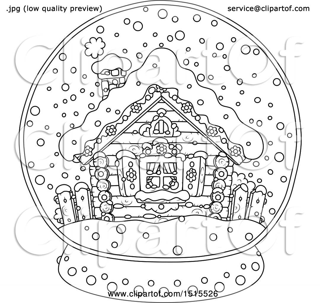 Clipart Of A Black And White Winter Cottage In A Snow