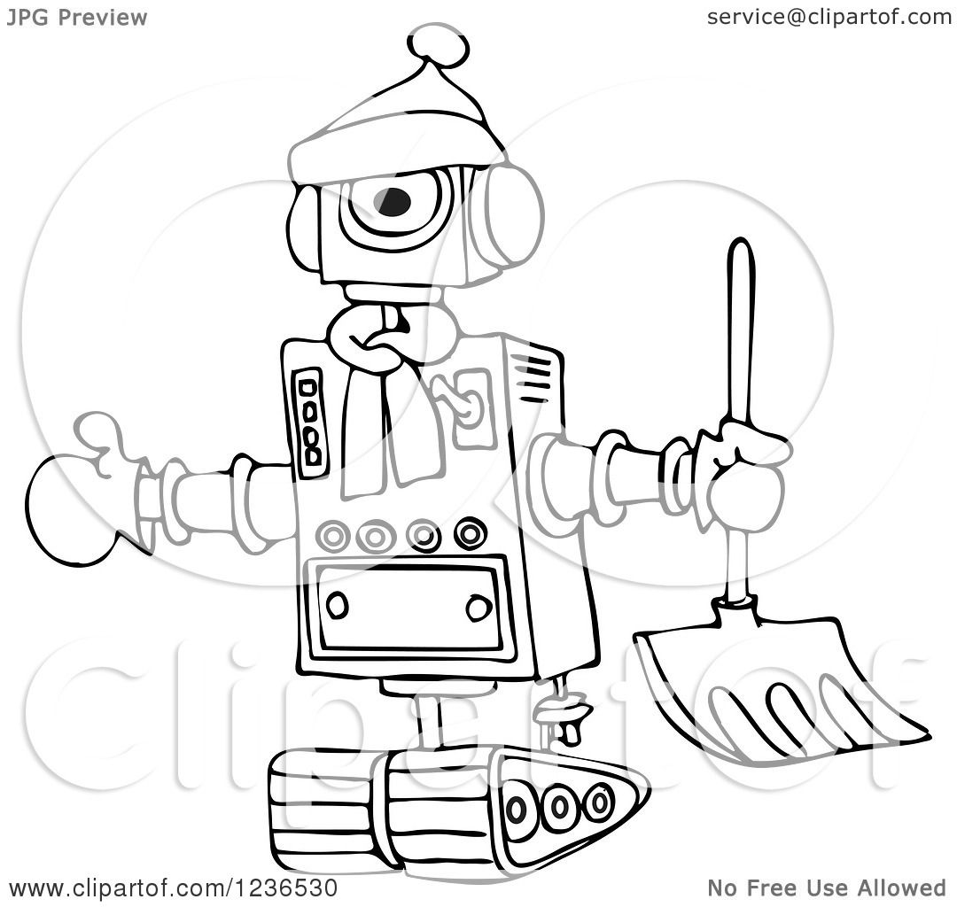 Clipart Of A Black And White Winter Robot With A Snow