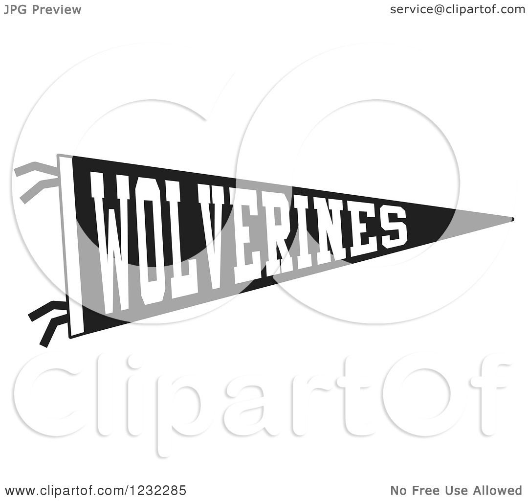 Clipart Of A Black And White Wolverines Team Pennant Flag