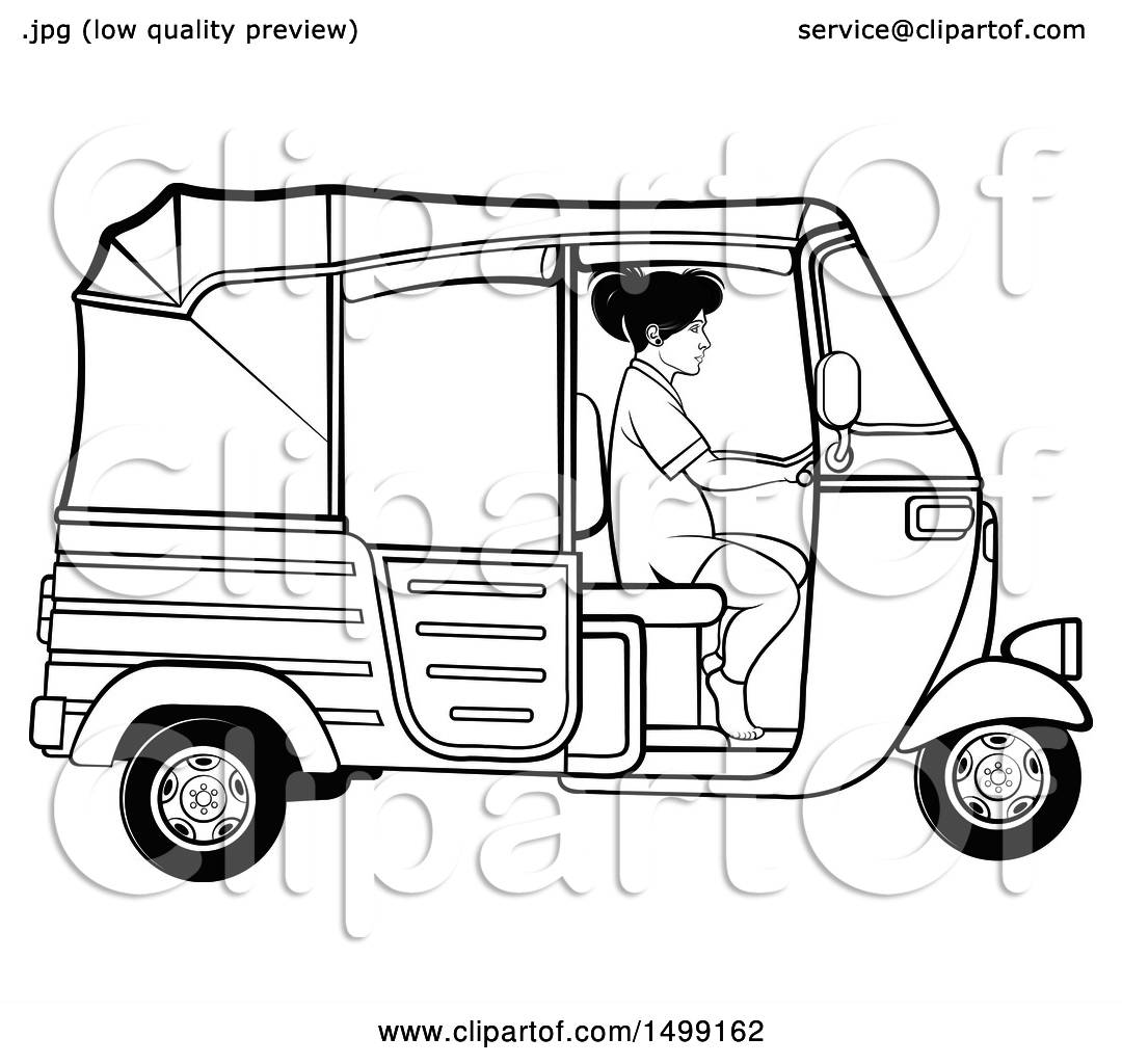 Clipart Of A Black And White Woman Driving A Three Wheeler