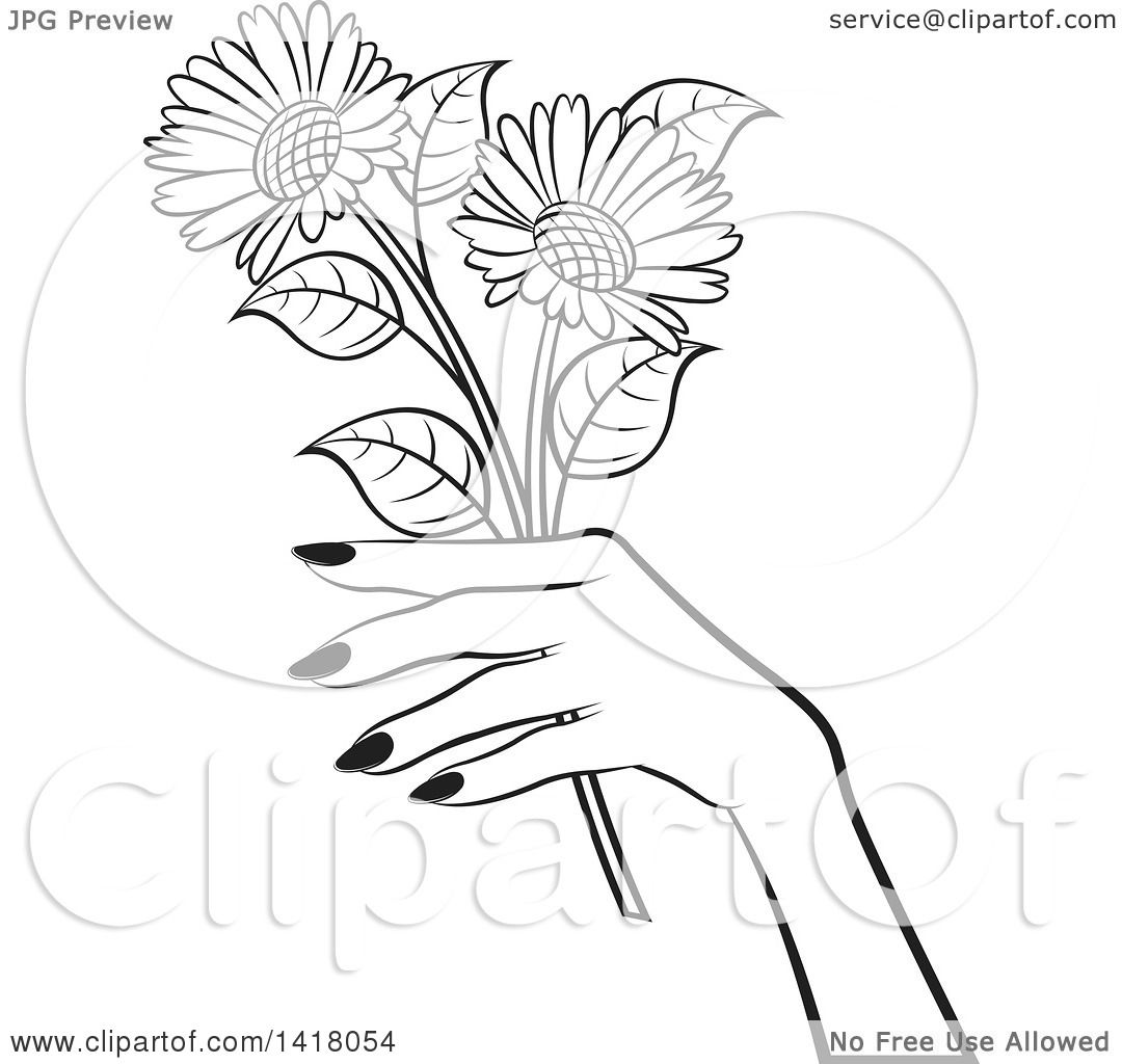 Clipart Of A Black And White Womans Hand Holding Flowers