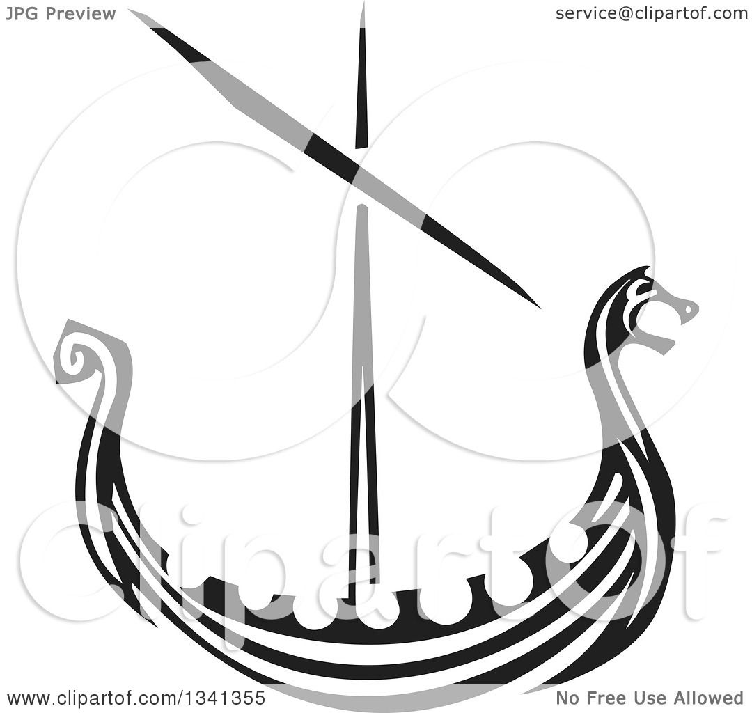 Clipart Of A Black And White Woodcut Dragon Viking Ship