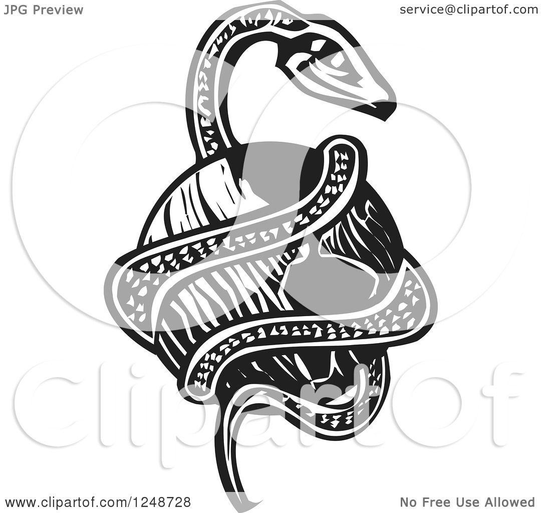 Clipart Of A Black And White Woodcut Midgard Serpent