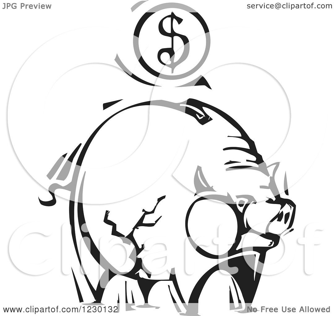 Clipart Of A Black And White Woodcut Piggy Bank With A