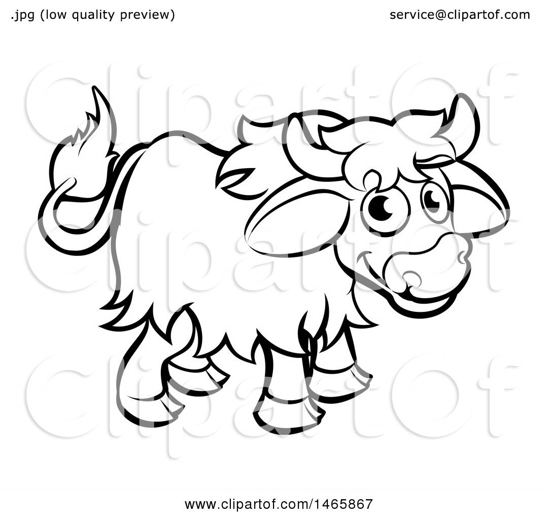 Clipart Of A Black And White Yak