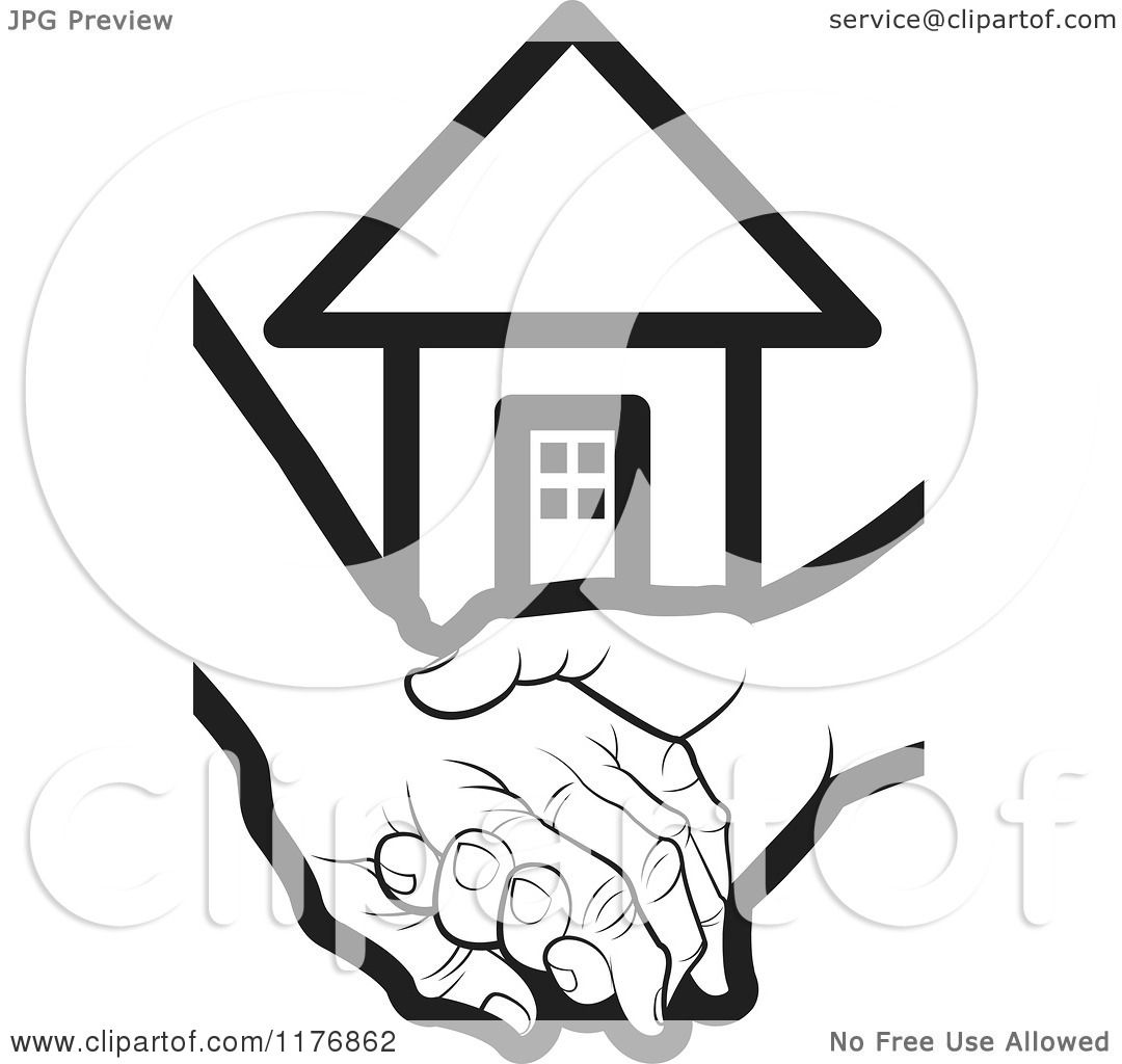 Clipart Of A Black And White Young Hand Holding A Senior