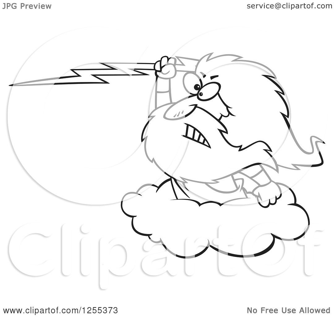 Clipart Of A Black And White Zeus Holding A Lightning Bolt