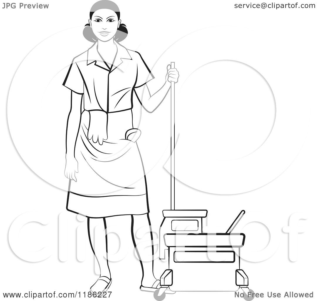 Clipart Of A Blackl And White Janitorial Woman Standing By