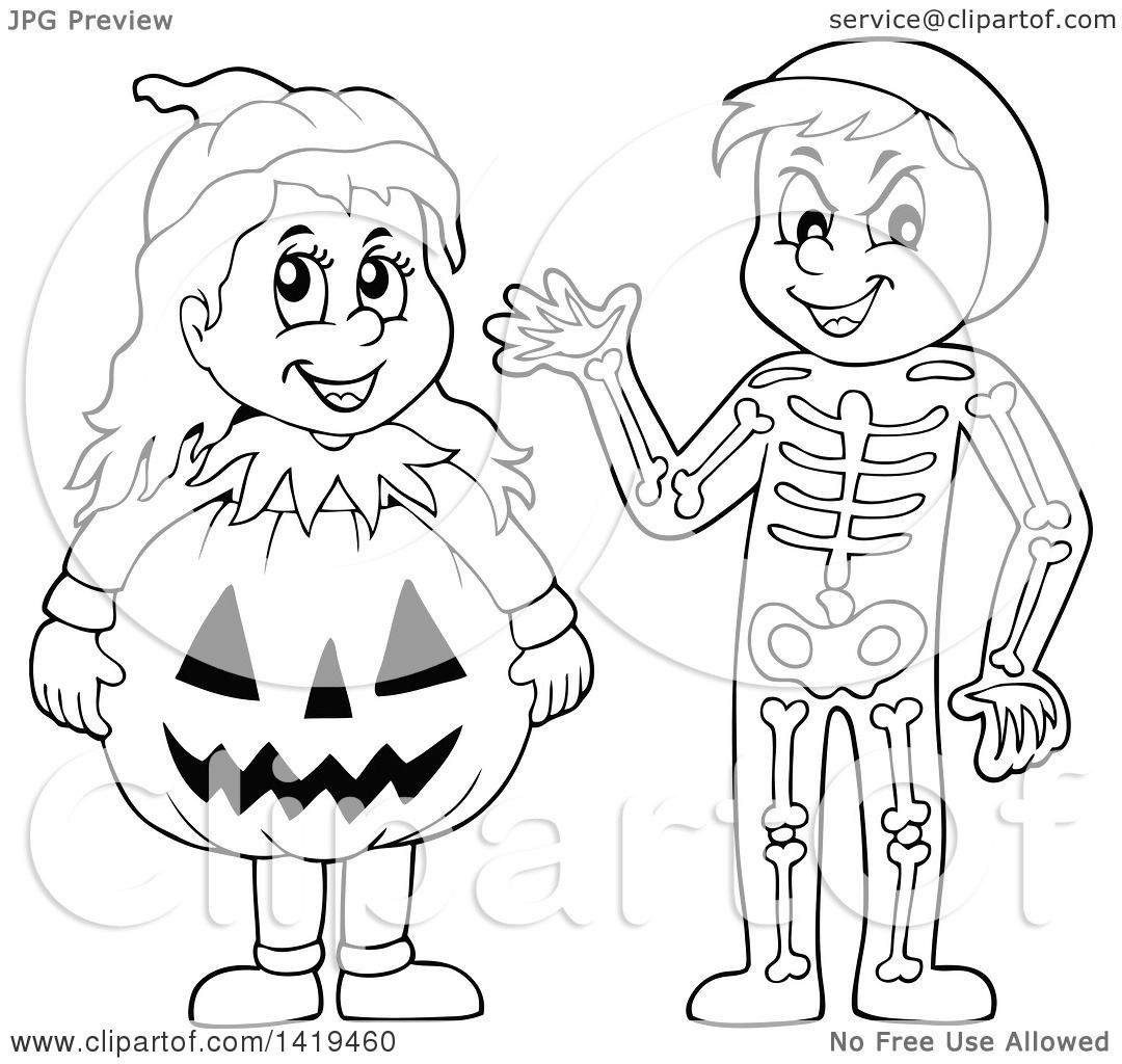 Clipart Of A Boy In A Skeleton Costume And Girl In A