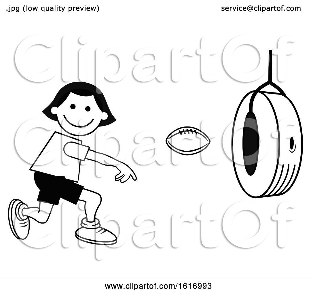 Clipart Of A Boy Throwing A Football Through A Tire On
