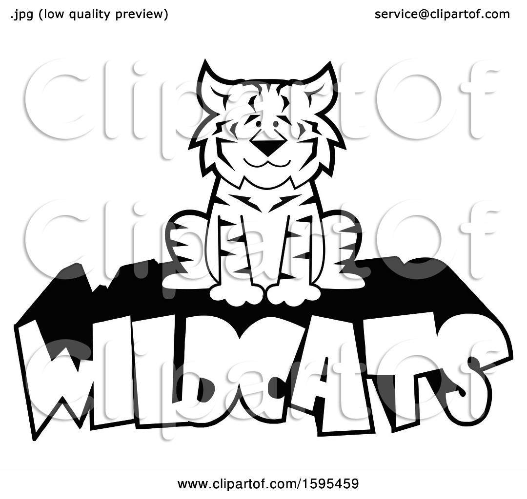 Clipart Of A Cartoon Black And White Bobcat School Sports