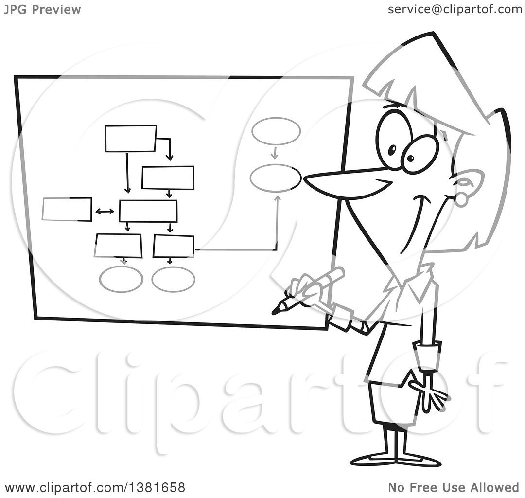 Clipart Of A Cartoon Black And White Business Woman