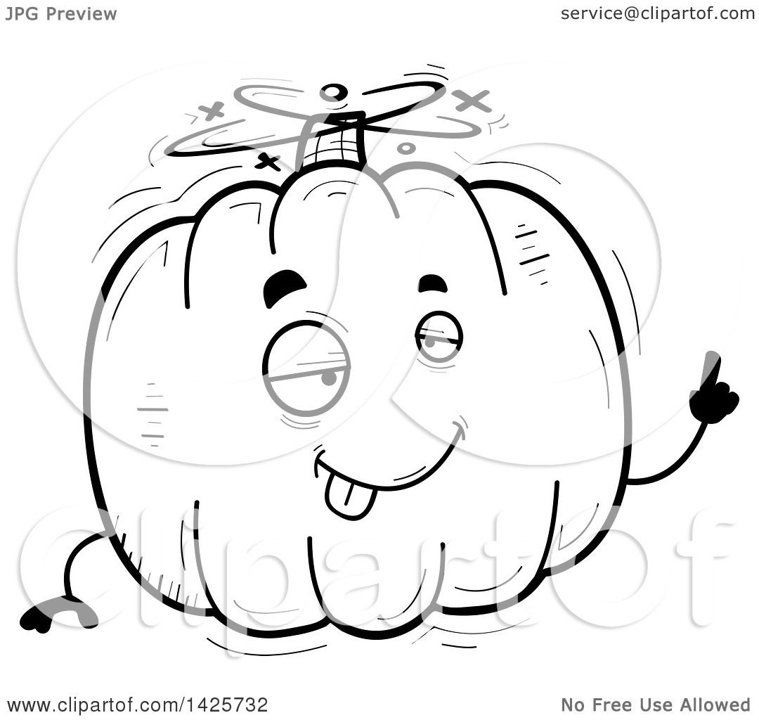 Clipart Of A Cartoon Black And White Doodled Drunk Pumpkin