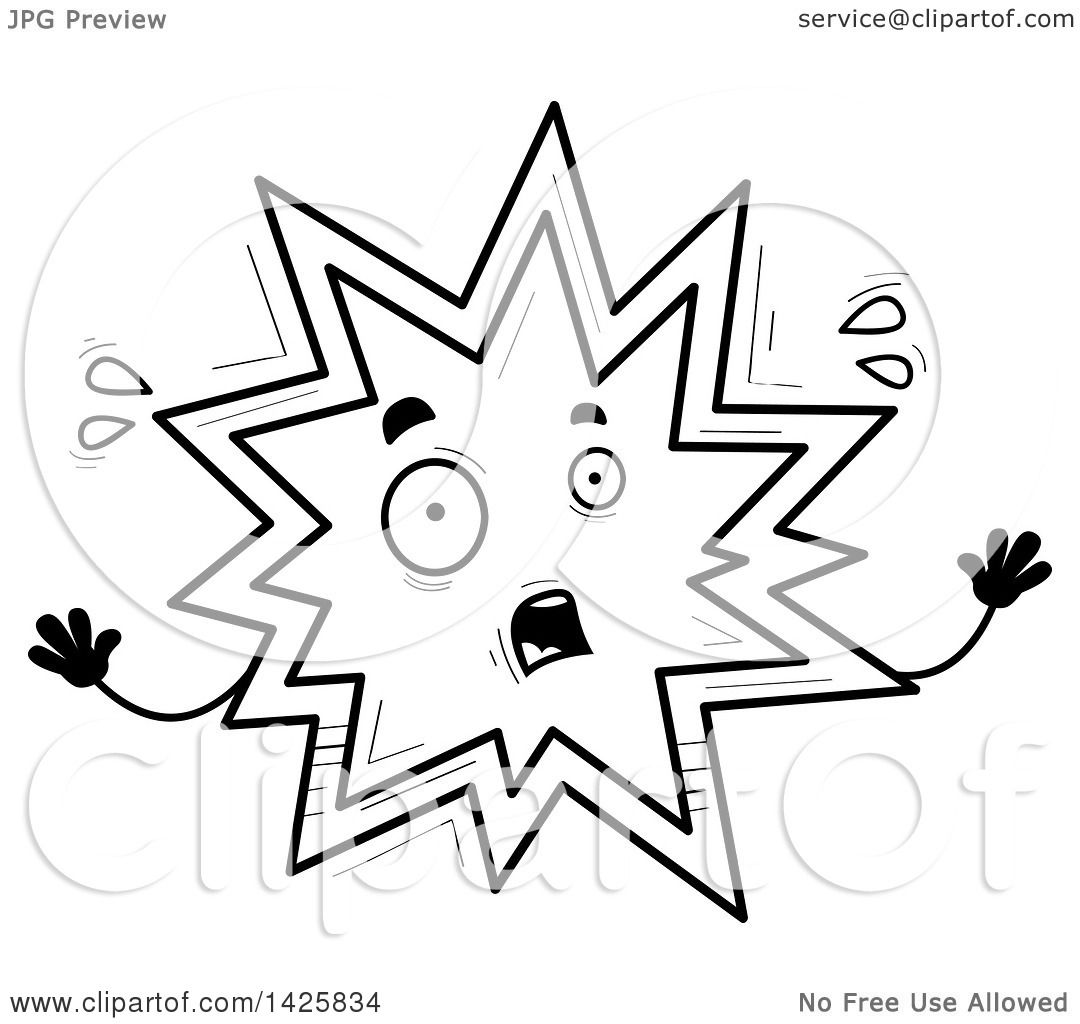 Clipart Of A Cartoon Black And White Doodled Scared