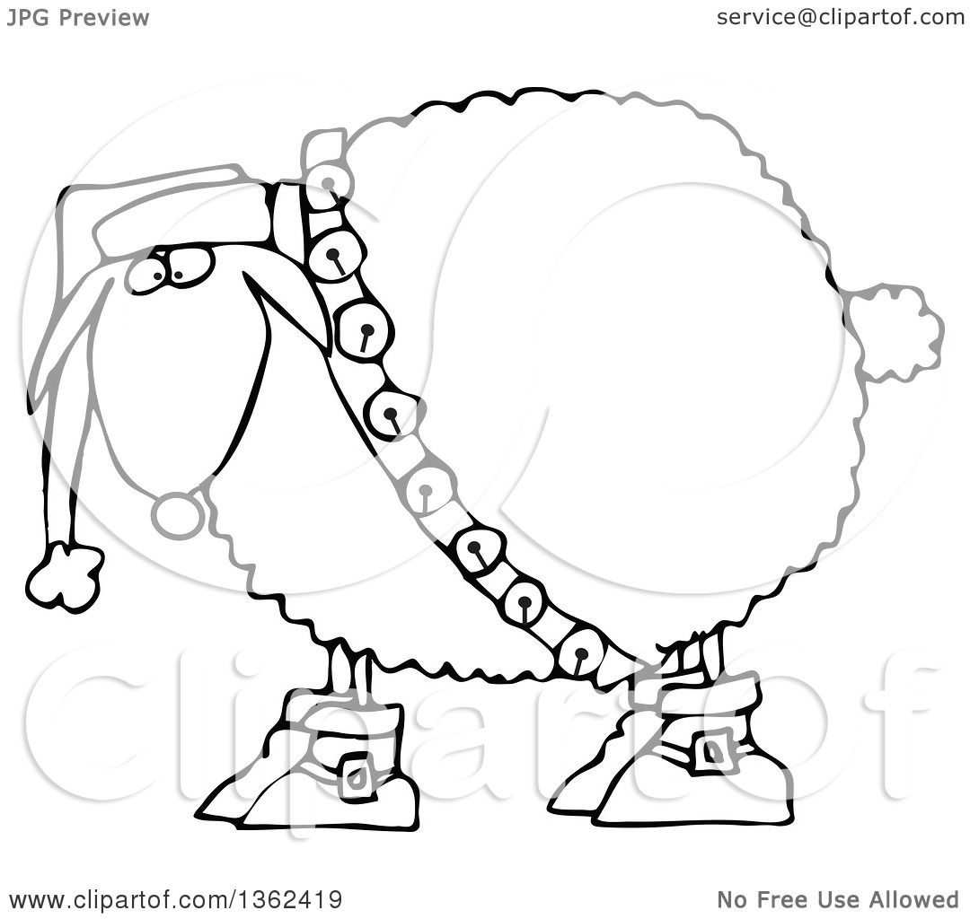 Clipart Of A Cartoon Black And White Festive Christmas