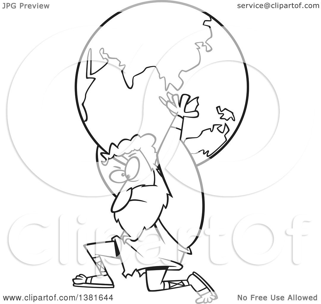 Clipart Of A Cartoon Black And White Greek God Atlas Carrying Earth