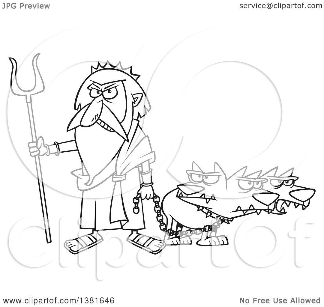 Clipart Of A Cartoon Black And White Greek God Hades