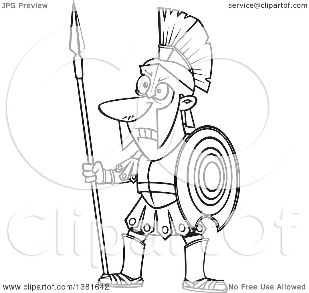 Clipart Of A Cartoon Black And White Greek God Of War