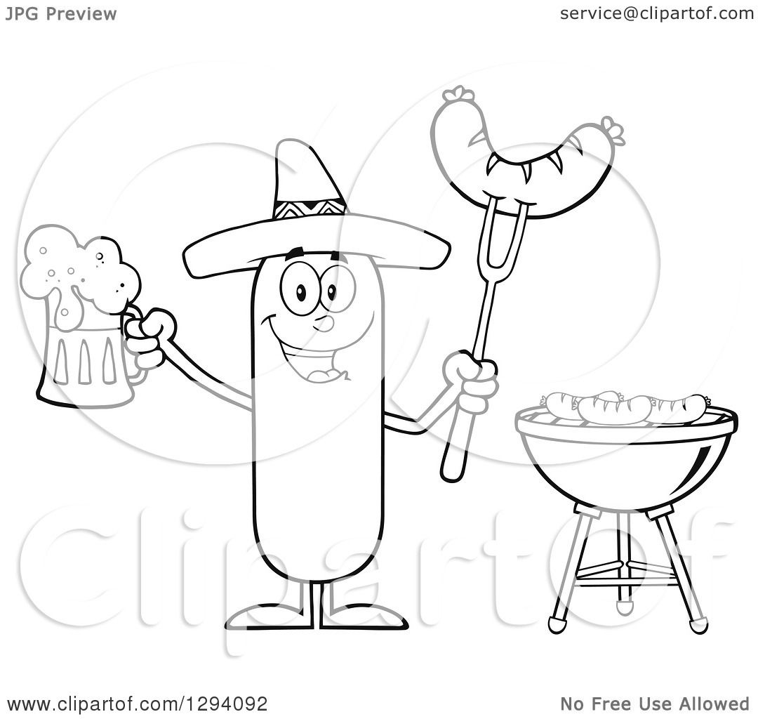 Clipart Of A Cartoon Black And White Happy Mexican Sausage