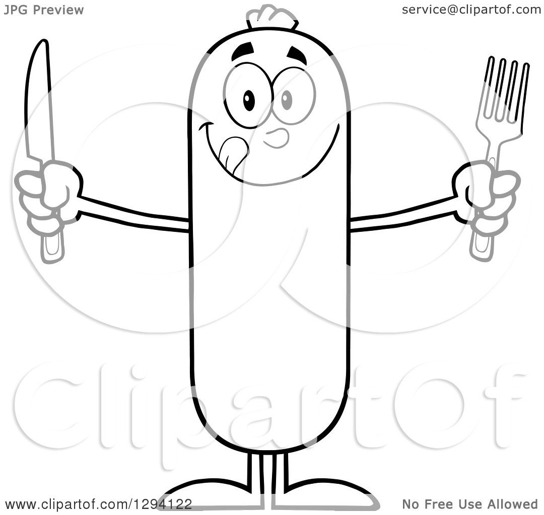 Clipart Of A Cartoon Black And White Hungry Sausage