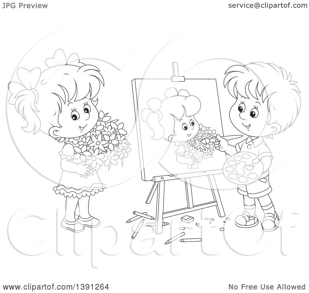 Clipart Of A Cartoon Black And White Lineart Artist Boy