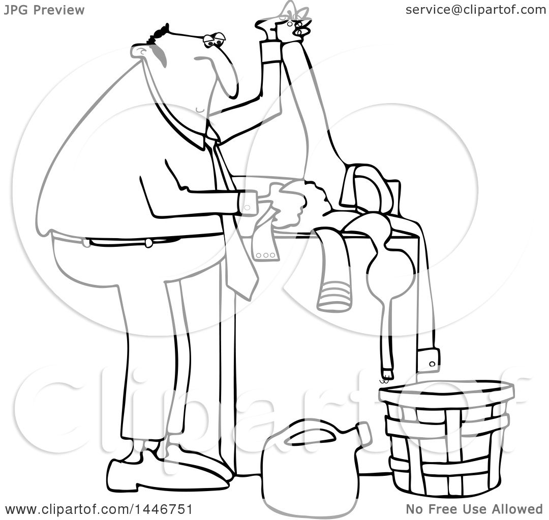 Clipart Of A Cartoon Black And White Lineart Chubby Man