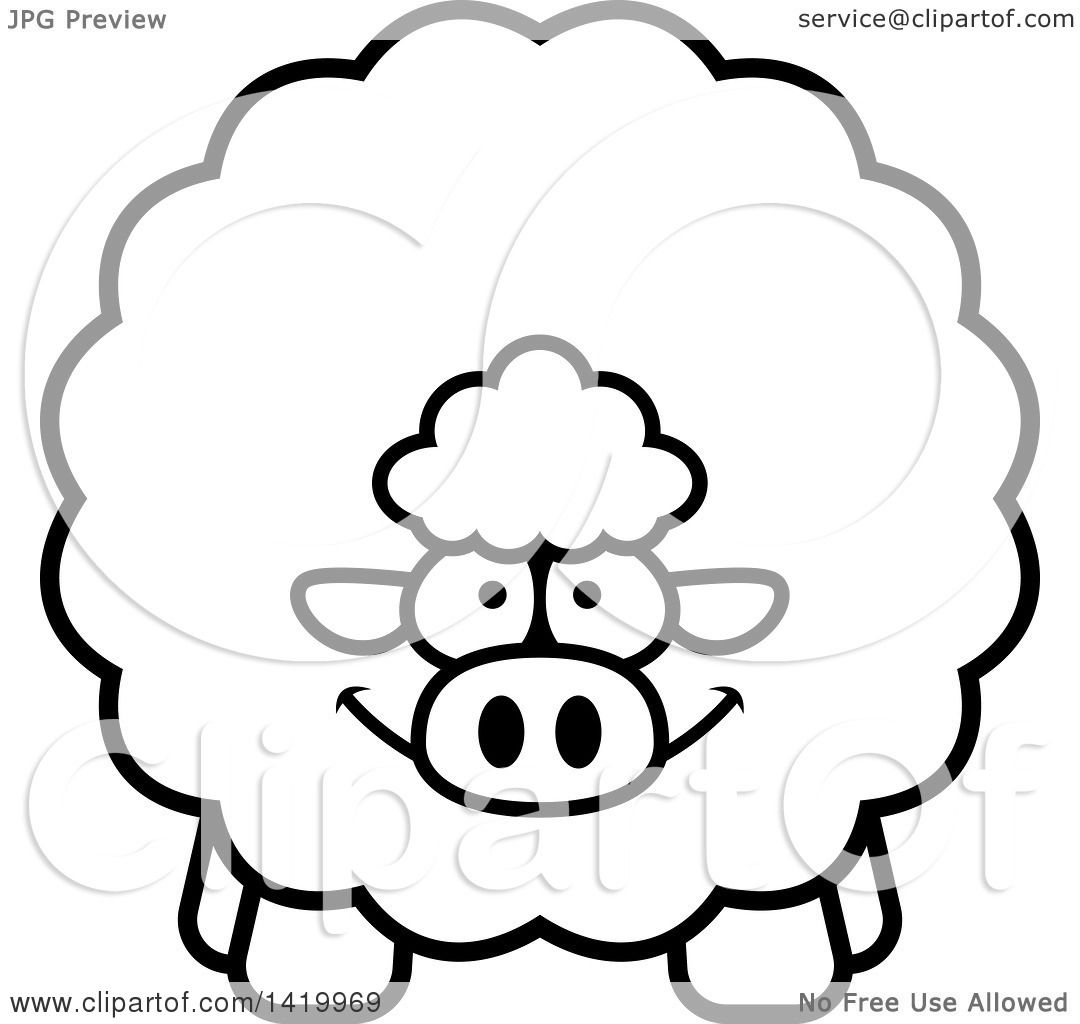 Clipart Of A Cartoon Black And White Lineart Chubby Sheep