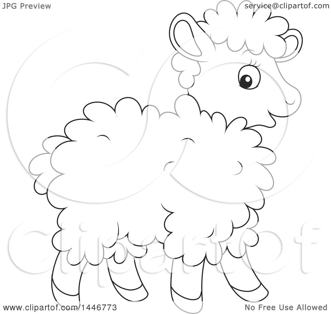 Clipart Of A Cartoon Black And White Lineart Cute Baby Lamb Sheep
