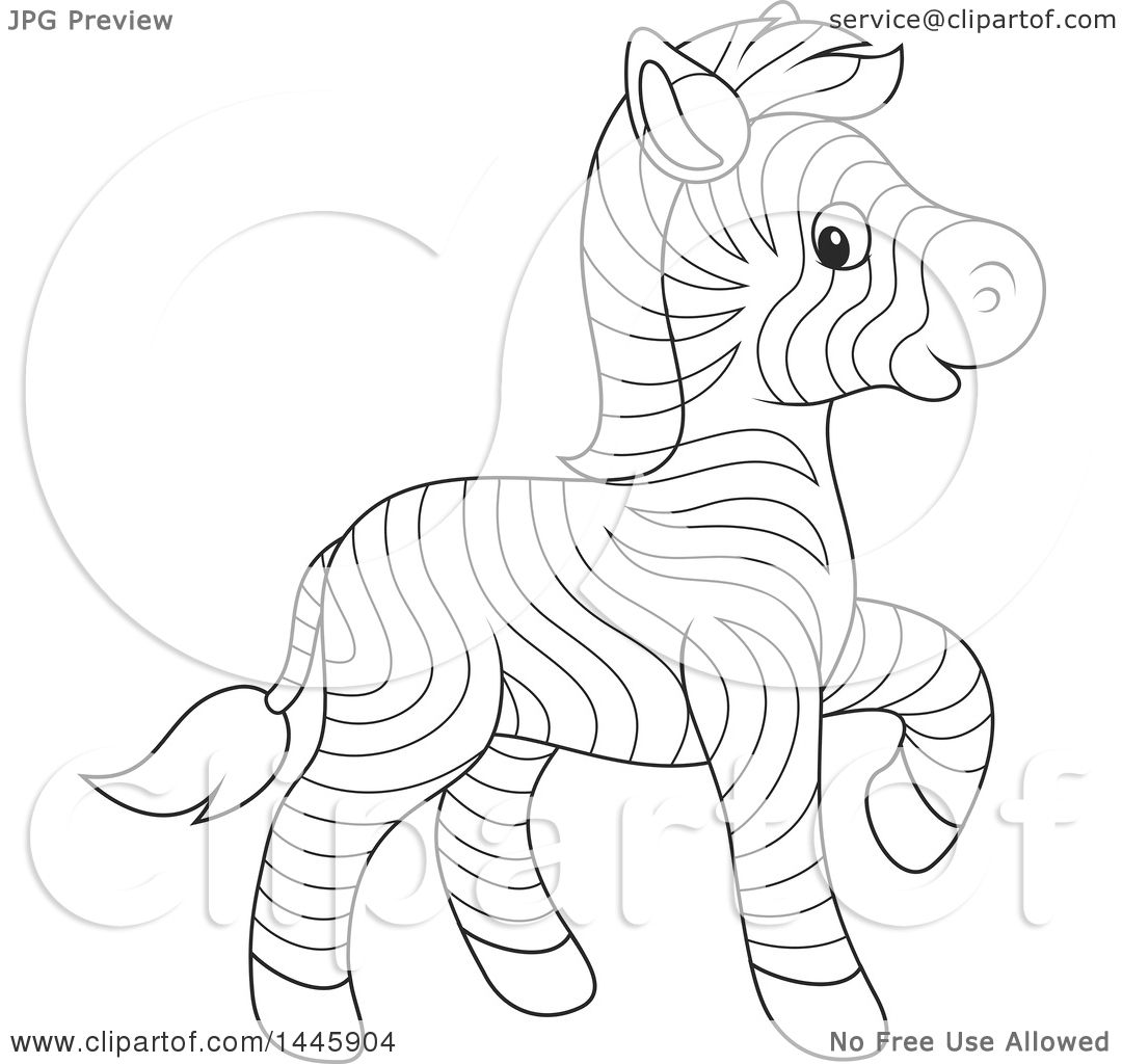 Clipart Of A Cartoon Black And White Lineart Cute Baby