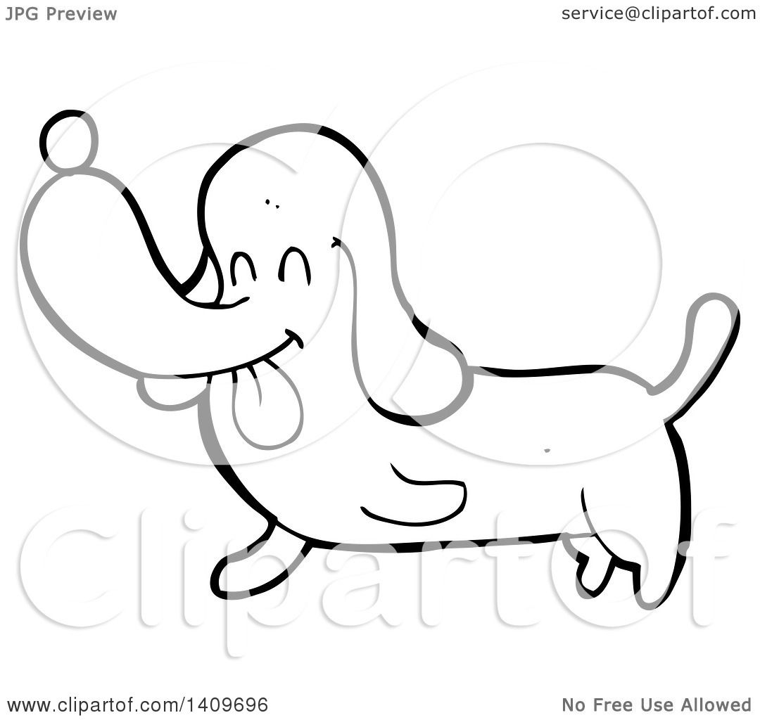Clipart Of A Cartoon Black And White Lineart Dachshund Dog