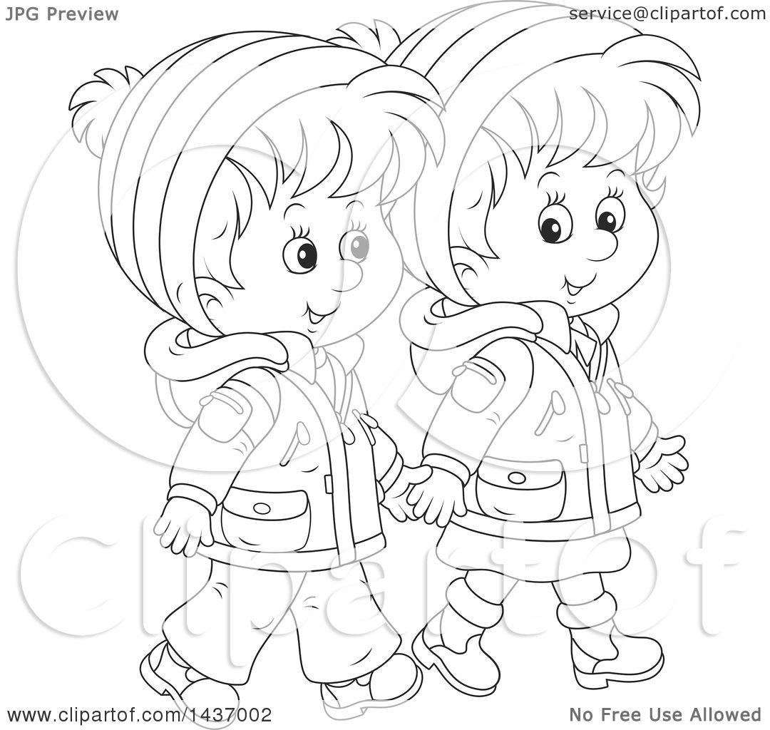 Clipart Of A Cartoon Black And White Lineart Happy Boy And