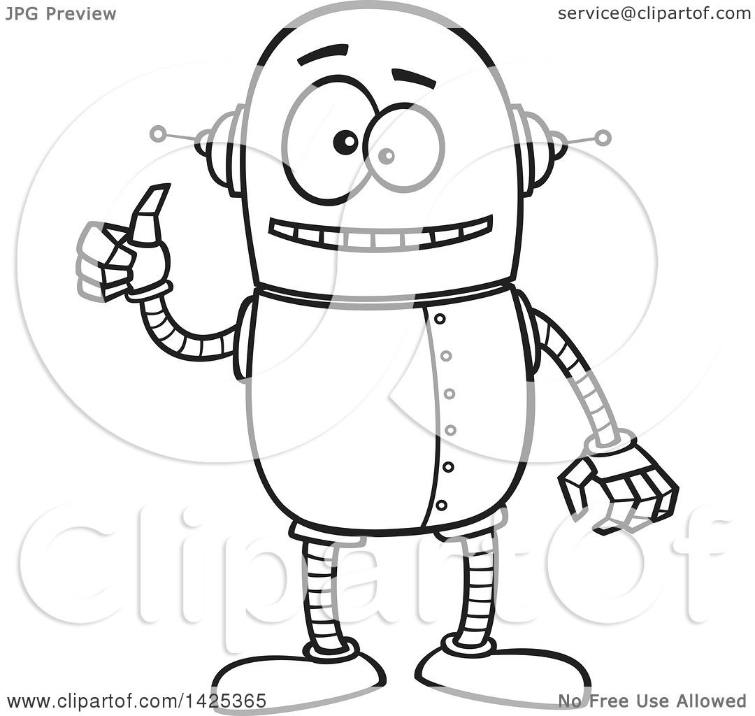 Clipart Of A Cartoon Black And White Lineart Happy Robot