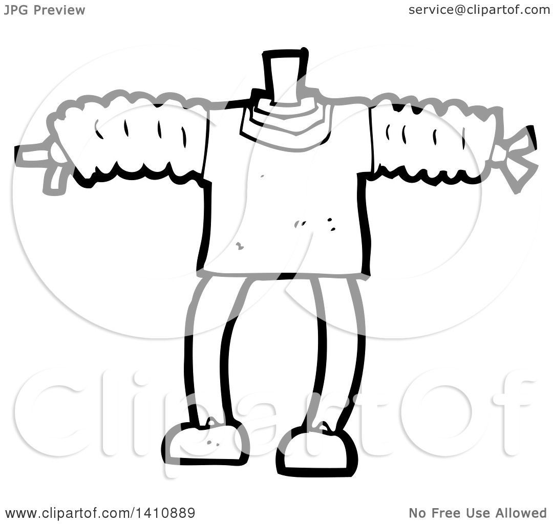 Clipart Of A Cartoon Black And White Lineart Headless
