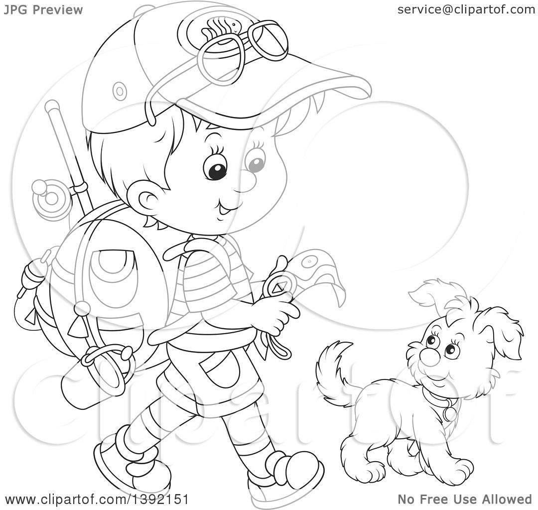 Clipart Of A Cartoon Black And White Lineart Little Boy